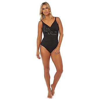 Seaspray SY007781 Women's Pailoa Black Costume One Piece Crossover Swimsuit