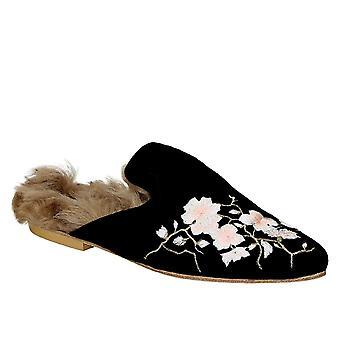 Gia Couture 1002150lafrancy Women's Black Velvet Slippers
