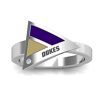 James Madison University Foundation Engraved Sterling Silver Diamond Geometric Ring In Purple and Brown