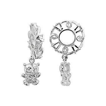 Storywheels Silver & Diamond Nalle Karhu Dangle Charm S143D