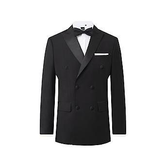 Dobell mens zwarte Tuxedo jas regular fit piek revers double breasted