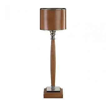 Premier Home Churchill Table Lamp, Aluminium, Laiton, Cuir, Fer, Acier, Brun