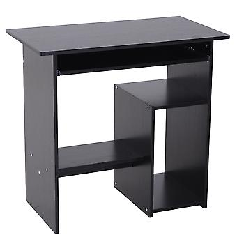 HOMCOM Compact Small Computer Table Wooden Desk Keyboard Tray Storage Shelf Modern Corner Table Home Office Black