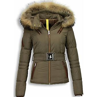 Beautiful Winter Coats With Fur Collar - Brown