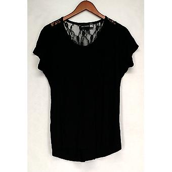 Antthony Top Gladys Short Sleeve Knit Top w/ Lace Inserts Black Womens 488-248