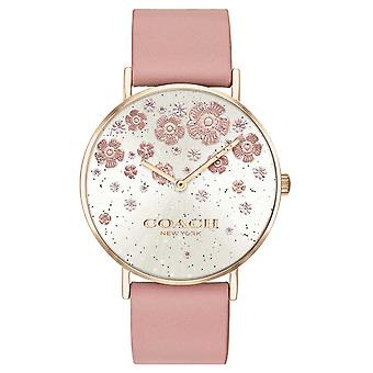 Coach   Perry   Blush Leather Strap   Floral Glitter Dial   14503325 Watch