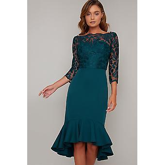 Teal lace detail franje hem jurk