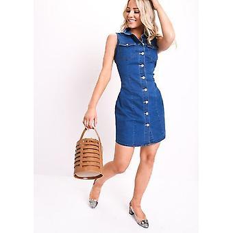 Knappen genom Denim ärmlös klänning blå