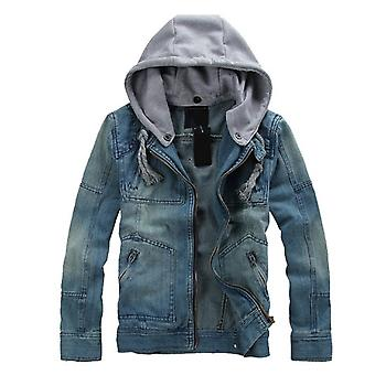 Allthemen Men's Denim Jacket Detachable Hat Zipper Work Travel Cowboy Coat