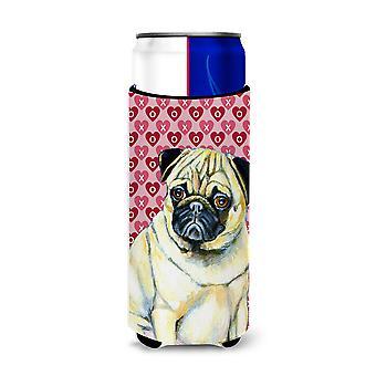Pug harten liefde en Valentijn ' s dag portret Ultra drank isolatoren voor slanke