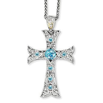925 sterling zilver gepolijst prong set kreeft klauw sluiting met 14k blauwe topaas ketting sieraden geschenken voor vrouwen