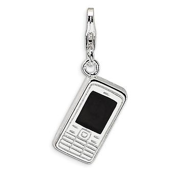 925 Sterling Silver Solid Polished Rhodium plated Fancy Lobster Closure 3 D Enameled Cell Phone With Lobster Clasp Charm