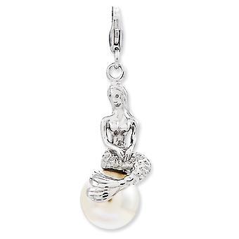 925 plata esterlina Rhodium plateado langosta de lujo cierre 3 d sirena de agua dulce perla cultivada con encanto de cierre de langosta