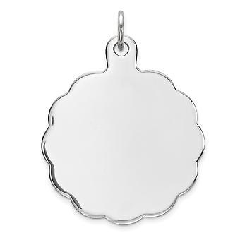 925 Sterling Argento polacco incisa incisa disco charma ciondolo collana gioielli per le donne