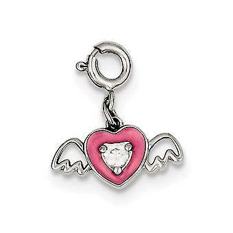 925 sterling sølv solid polert vårring rosa enameled cz cubic zirconia simulert diamant kjærlighet hjerte med engel w