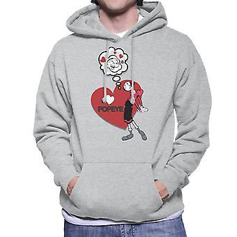 Popeye Love Heart Oliver Oyl Men's Hooded Sweatshirt