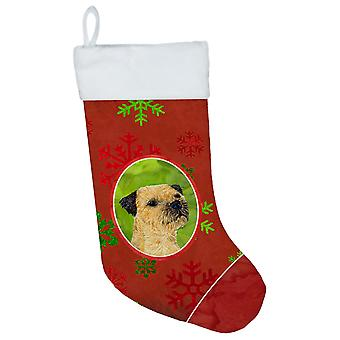 Border Terrier Red and Green Snowflakes Holiday Christmas Christmas Stocking