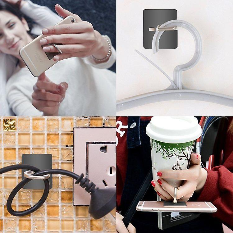 Universal Samsung Ring Holder for All Phones and More, Black/Silver