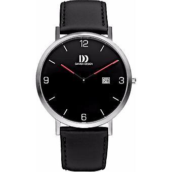 Dansk design IQ13Q1153 svart skinn armbåndsur