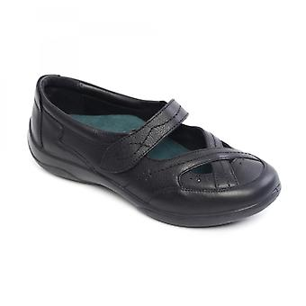 Padders Cello Ladies Leather Extra Wide (2e/3e) Mary Jane Shoes Black Combi