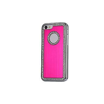 Hull voor iPhone 5c Aluminium Geborsteld Roze en Strass