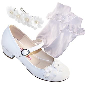 Girls white low heeled bridesmaid shoes with socks and hair clip