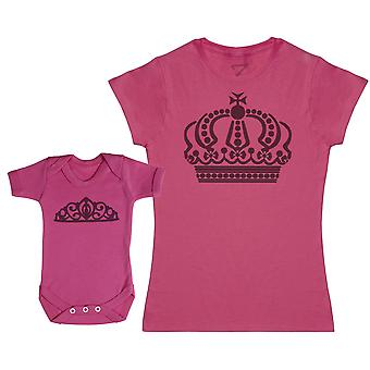 Queen And Princess Crowns - Baby Bodysuit & Mother's T-Shirt