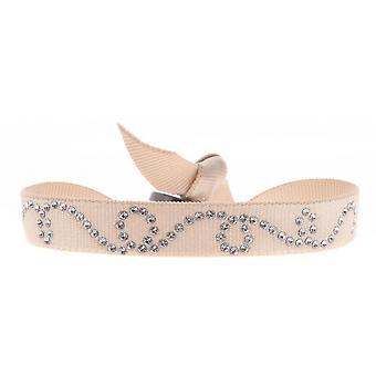 Bracelet Les Interchangeables A37942 - Bracelet Tissu Beige Cristaux Swarovski Femme