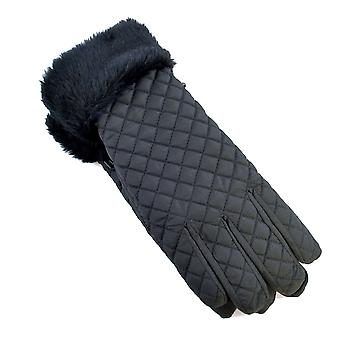 Ladies Padded With Faux Fur Cuff & Thermal Lining Warm Winter Gloves Black