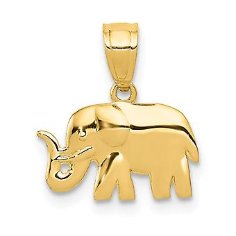 13mm 14k Polished Elephant Pendant Jewelry Gifts for Women - .6 Grams