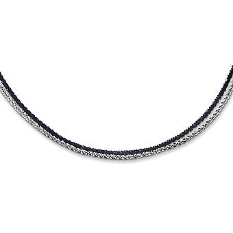925 Sterling Silver Rhodium and Blue Plated 2 Strand Adj. 18 20 Inch Necklace 18 Inch Jewelry Gifts for Women