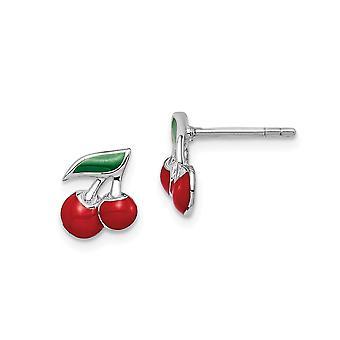 925 Sterling Silver Rhodium plated for boys or girls Enameled Cherry Post Earrings - 1.1 Grams