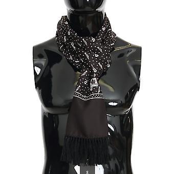 Dolce & Gabbana Brown Silk Instrument Fringes Scarf
