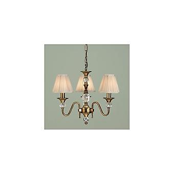 Interiors 1900 Polina Ant Brass & Cut Crystal Chandelier, 3 Light