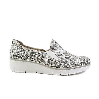 リーカー53766-40グレーヘビスキンエフェクト女性は靴に滑ります