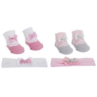 Baby jenter Glitter bue toppet lille engel sokker/hodebånd gave sett