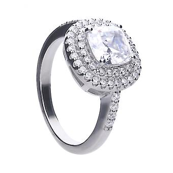 Diamonfire Silver & White Zirconia Cushion Cut Ring