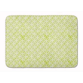 Gemoetric Circles on Green Watercolor Machine Washable Memory Foam Mat