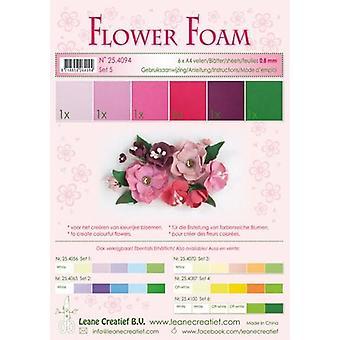 Leane Creatief Espuma de flores A4 Set 5 Rojo-Rosa