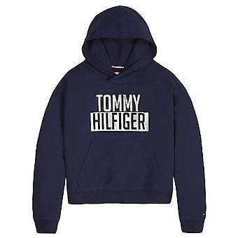 Tommy Hilfiger Girls Navy Cotton Terry Logo Hoody