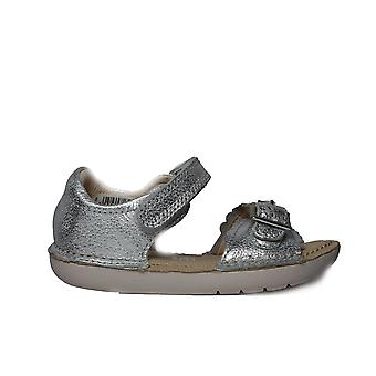 Clarks Ivy Flora Silver Leather Girls Open Toe Rip Tape Sandals