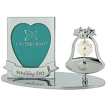 Crystocraft Freestanding Silver Plated Wedding Bell Photo Frame Ornament Made With Swarovski Crystals