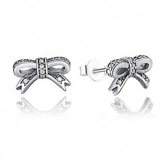 Silver Earrings Bow Tie - 6495