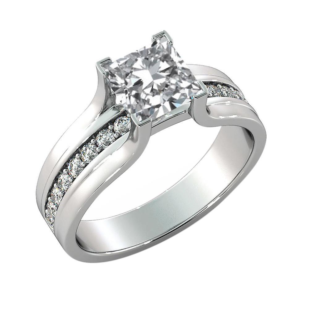1.4 Carat H VS1 Diamond Engagement Ring 14K White Gold Solitaire w Accents Bridge Channel set