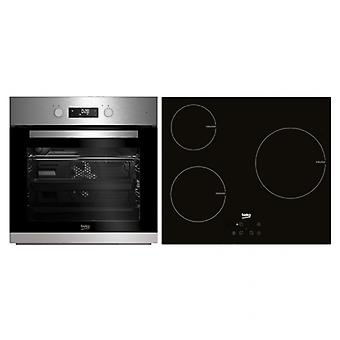 Combined Oven and Glass-Ceramic Hob BEKO BSE22341X 65 L Touch Control 5900W Stainless steel Black