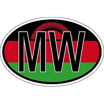 ملصقا بيضاوي االبيضاوي العلم رمز البلد MAL ملاوي
