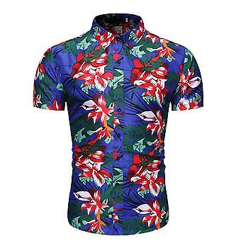Allthemen الرجال & apos;ق الأزهار الصيف شاطئ عارضة قميص الأكمام القصيرة