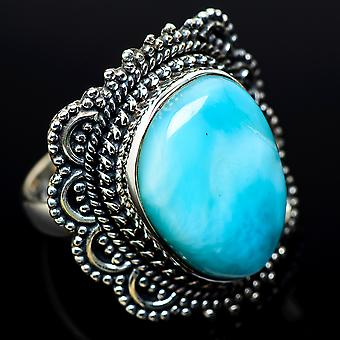 Large Larimar Ring Size 8 (925 Sterling Silver)  - Handmade Boho Vintage Jewelry RING11520