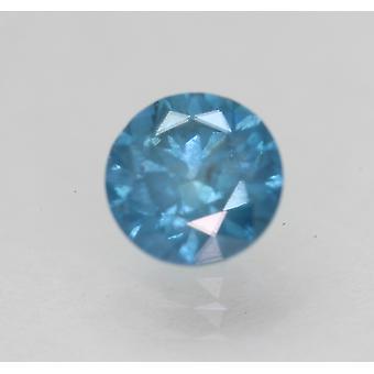 Cert 0.85 Ct Vivid Blue SI2 Round Brilliant Enhanced Natural Diamond 5.89mm 2VG