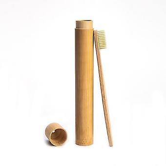 1pc Regenbogen Zahnbürste +1pc Bambus Rohr - umweltfreundliche natürliche Reisefall mit weichen Kopf
